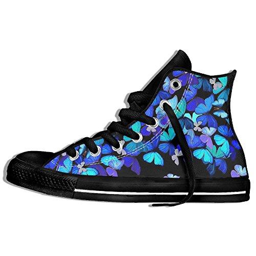 Classiche Sneakers Alte Scarpe Di Tela Antiscivolo Farfalla Blu Casual Da Passeggio Per Uomo Donna Nero