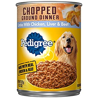 PEDIGREE Adult Canned Wet Dog Food Chopped Ground Dinner Combo with Chicken, Beef & Liver Flavor, (12) 13.2 oz. Cans