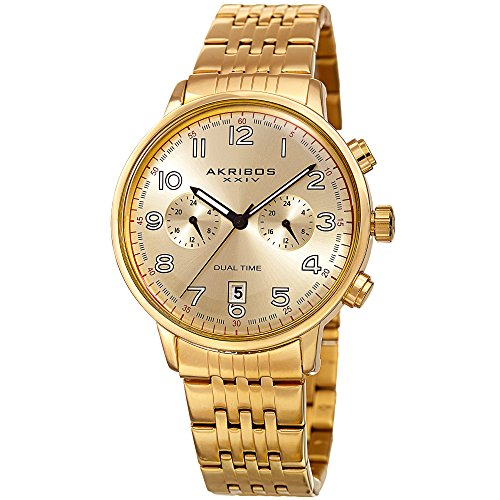 Akribos XXIV Men's Gold-Tone Dual Time Zone Sub dials with Gold-Tone Dial and Gold-Tone Case on Gold-Tone Stainless Steel Bracelet Watch AK942YG