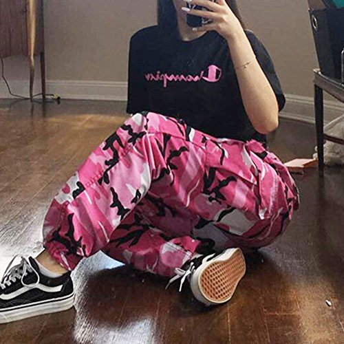 Eleganti Jogging Pantaloni Outdoor Fashion Vintage Pink Sciolto Palestra Militari Pantaloni Libero Women Tuta Harem Grazioso Donna Pantaloni Tempo Pantaloni Giovane Training Pantaloni vxwqtUnC