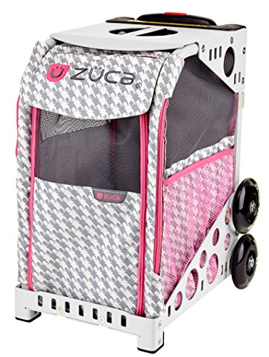 ZUCA ZuZuca Rolling Pet Carrier - Houndstooth Pink Insert Bag, Choose Your Frame Color (White Frame & Flashing Wheels) -