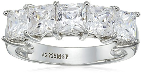Silver Cut Princess Ring - Platinum-Plated Sterling Silver Princess-Cut 5-Stone Ring made with Swarovski Zirconia (3 cttw), Size 8