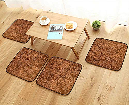 (UHOO2018 Chair Cushions Detail of Fancy Tooled Leather Cover Good for Backgrounds menus Buttons Non Slip Comfortable W25.5 x L25.5/4PCS Set)