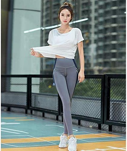 レディースジャージ上下セット 女性3ピース衣装トップパンツレギンスヨガセットトラックスーツ (Color : Gray, Size : L)