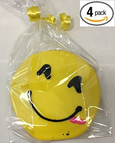 Emoji Cookies - Smiling Face Tongue Symbol Emoji - Hand Decorated - Edible 4'' Emoticon Decorative Gourmet Sugar Cookies w/ Fondant - 4 pack - Individually Wrapped by House of Cupcakes