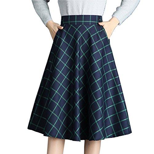 Lady De A Jupes Maxi Treillis Sexy tlgant ligne Bureau Jupe Taille vase Femmes lastique Plisse Green xBqRzXwOO