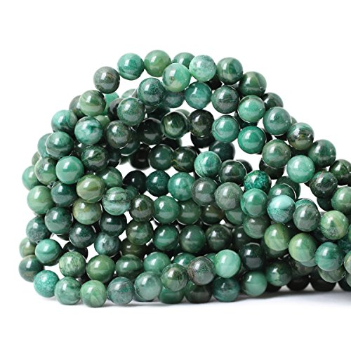 CHEAVIAN 45PCS 8mm Natural Verdite Stone African Jade Gemstone Round Loose Beads for Jewelry Making DIY Findings 1 Strand 15