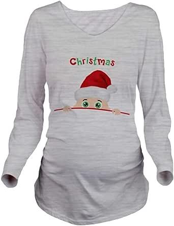 Juleya Maternidad Embarazo Ropa de Navidad Tees Divertidos Maternidad Embarazadas Tops Mangas Largas Camiseta Embarazo Camisa Ropa