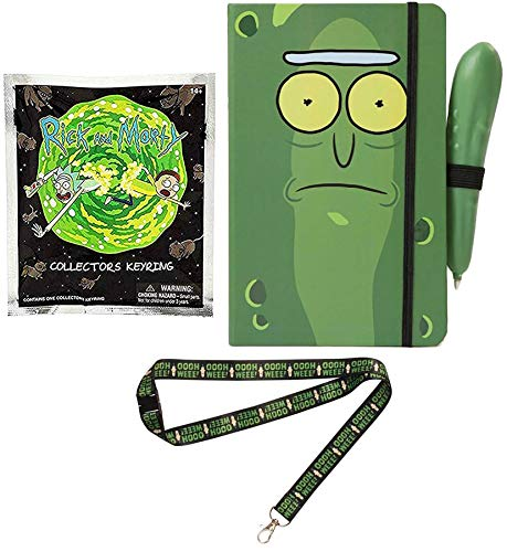 (Ruled Pickle Rick & Morty Character Pack Mini Figure Collectors Key Ring Blind Bag Bundled with + Mr Poopy Butthole Ooh Wee Lanyard & Green Pen & Notebook 3-Items)