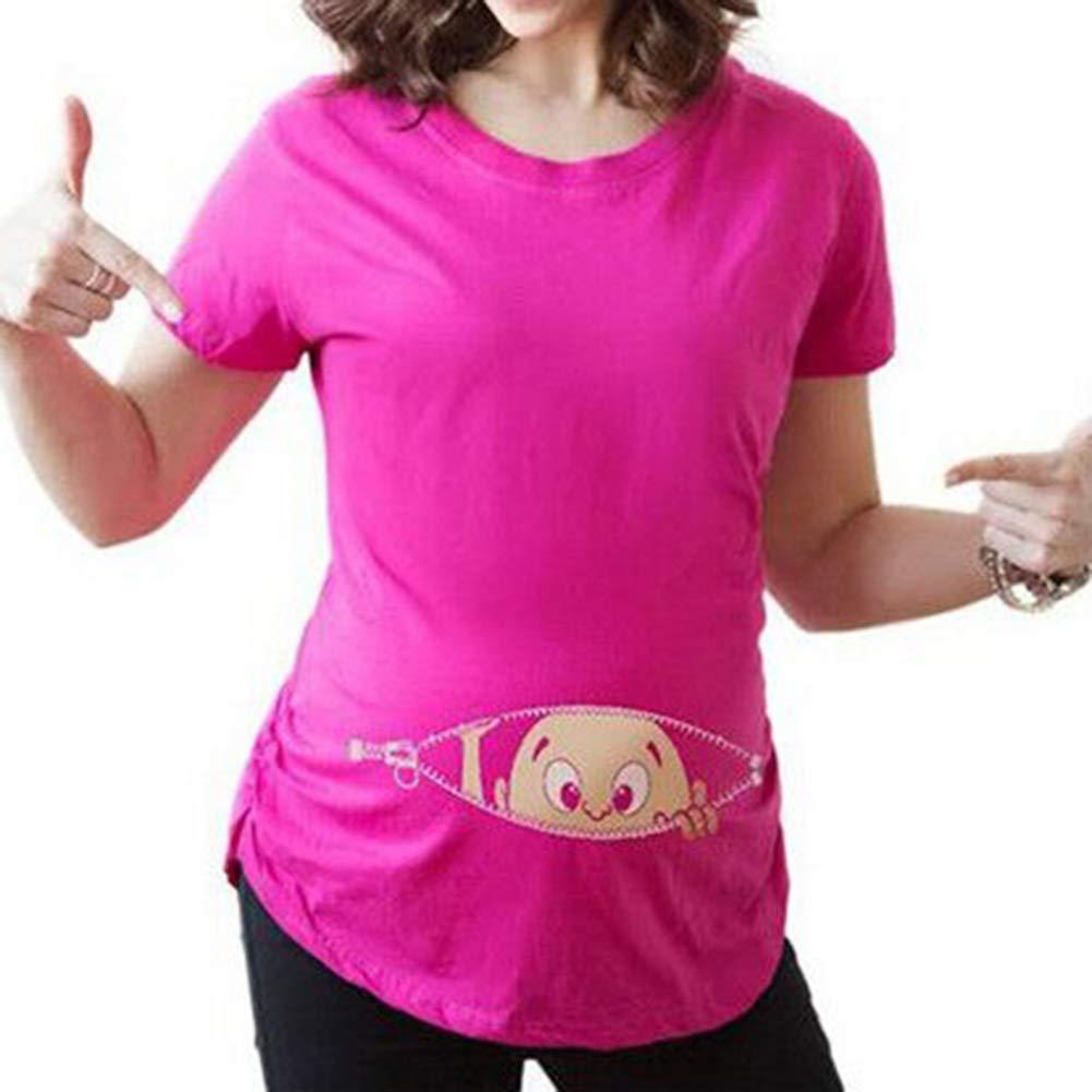 JiXuan Maternity Shirt T-Shirt Moulant Manches Courtes Base Dessin Animé  pour Femmes Enceintes  Amazon.fr  Vêtements et accessoires d31dbba6d3d