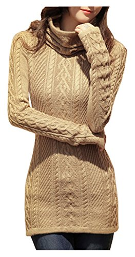 v28 Women Polo Neck Knit Stretchable Elasticity Long Sleeve Slim Sweater Jumper (US Size 12-16, Khaki)