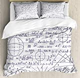 Ambesonne Modern Duvet Cover Set Queen Size, School Genius Smart Student Math Geometry Science Numbers Formules Image Art, Decorative 3 Piece Bedding Set with 2 Pillow Shams, Dark Purple White