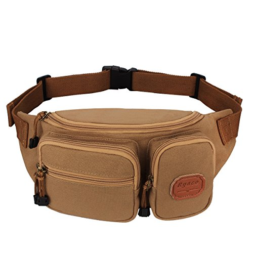 Ryaco [Canvas] R906 Waist Pack, Outdoor Sports Waist Bag, Bum bag, Sport Running belt, Exercise Runner Belt, Fitness Workout Belt, Race Belt, Fanny Pack, Workout Pouch, for Hiking, Climbing