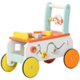 TRYSHA Baby Walker, Push Along Wooden Toy, Pull Along Wagon, 2-in-1 Baby Walker for Girl&boy 6 Months, Toddler Mobility…