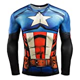 Men's Slim Fit Compression Shirt - Captain America Super Heros Cool Costume