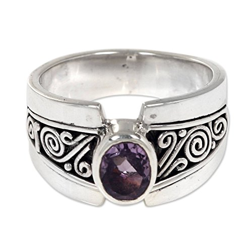 NOVICA Amethyst .925 Sterling Silver Cocktail Ring, Purple Karma