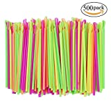 Assorted Neon Colors Sno-Cone Plastic Spoon Drinking Straws, Pack of 500