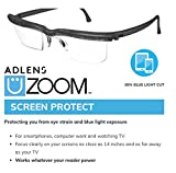 Adlens UZOOM Screen Protect (Grey) Adjustable Focus Computer Reading Glasses, Blue Light Blocking, Blue Light Filtering Digital Gaming Screen Glasses Crafting Glasses Magnifying Glass, Men and Women