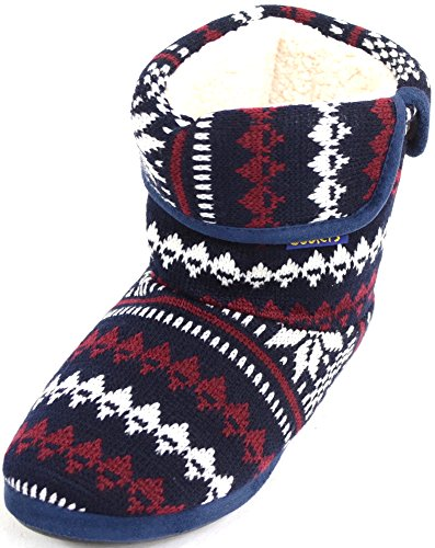Mens Knitted Style Warm Fleece Lined Slipper Boots / Booties - Navy - 10 US (Knitted Booties)