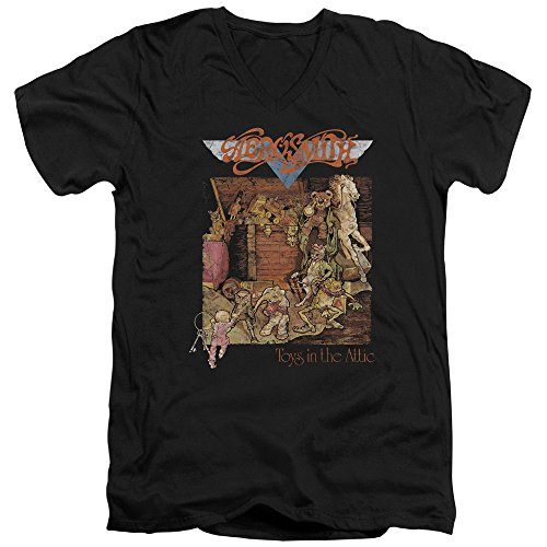 Pour neck Hommes Aerosmith Jouets T shirt V Black wPTxOxCFqg