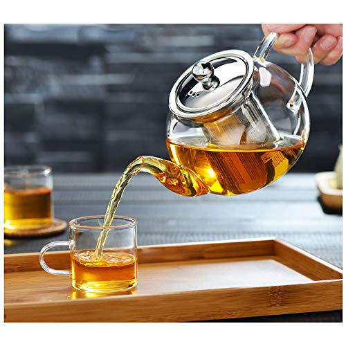 Cosy-YcY Glass Teapot with Infuser, Teapot with Strainer for Loose Tea, Tea...