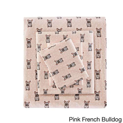 3 Piece Salmon Pink Bulldog Flannel Sheet XLong Twin Set, White Adorable Puppy Kids Bedding Polka Dot Teen Bedroom Decor Dots Pattern Animal Print Deep Pocket Spots Circles Soft Cotton Comfort Modern