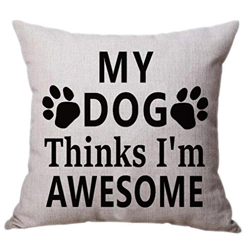 DEESEE(TM)Best Dog Lover Gifts Cotton Linen Throw Pillow