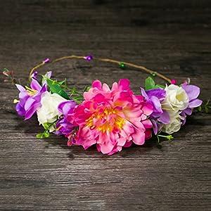 #Spring Wreath Wreath Bridal Bridesmaid Wreath Headdress Large Flower Wreath Beach Holiday Beach Hair Accessories Bohemia Easter Wreath (Color : D)
