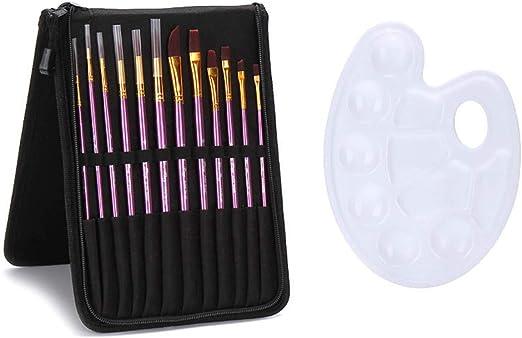 Milnnare - Juego de 12 pinceles para pintar al óleo, acrílico, con paleta de bolsas: Amazon.es: Hogar