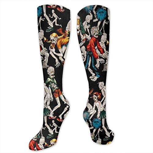 Unisex Fun & Funky Colorful Dress Socks (New Haunted House Zombie,19.7 Inches) -