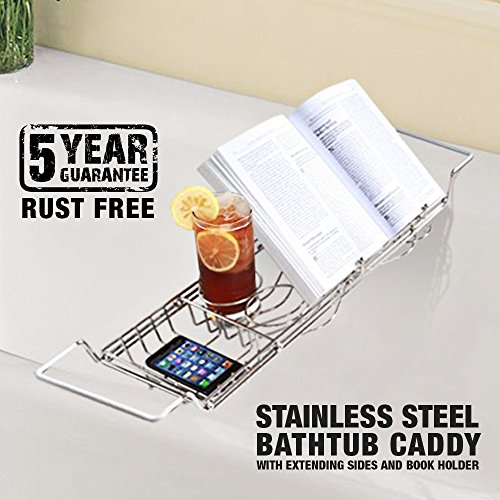 Amazon.com: ToiletTree Products Stainless Steel No Rust Guarantee Bathtub  Caddy With Extending Sides And Book Holder: Home U0026 Kitchen
