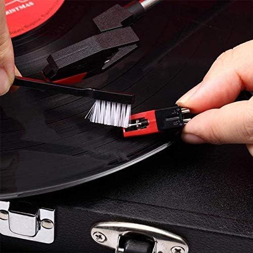 JUNGEN Kit de Limpiador de Discos de Vinilo Cepillo de Limpieza Antiest/ático Cepillo de Aguja con Terciopelo Pa/ño de Limpieza de Discos Cepillo para Vinilos