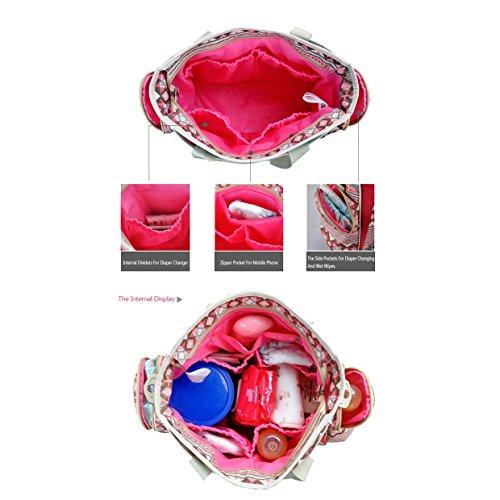 Multifuncional Cochecitos Lona Bolsa de Pañales del Bebé Estilo Bohemio Totalizador de Momia Bolsas de Hombro Rojo