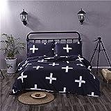 Cotton Blend Cross Single Twin Queen King Size Bed Pillowcase Quilt Duvet Cover Set (Black, Queen)