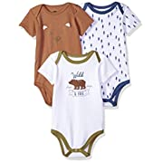 Hudson Baby Cotton Bodysuits, Wild and Free 3 Pack, 3-6 Months (6M)