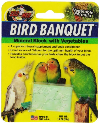 (Zoo Med Laboratories BZMBBVS Bird Banquet Vegetable Mineral Block, Small)