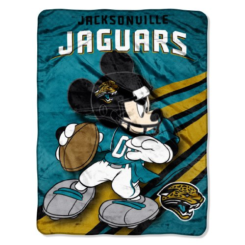 y Officially Licensed NFL Jacksonville Jaguars Disney's Mickey CoBranded Micro Raschel Throw Blanket, 46