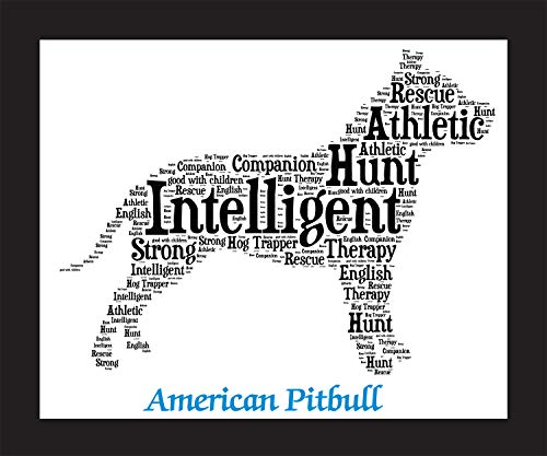 (American Pitbull Dog Wall Art Print - Personalized Pet Name - Gift for Her or Him - 11x14 matted - Ships 1 Day)