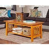 Atlantic Furniture AH15207 Mission Coffee Table Rubberwood, Caramel Latte