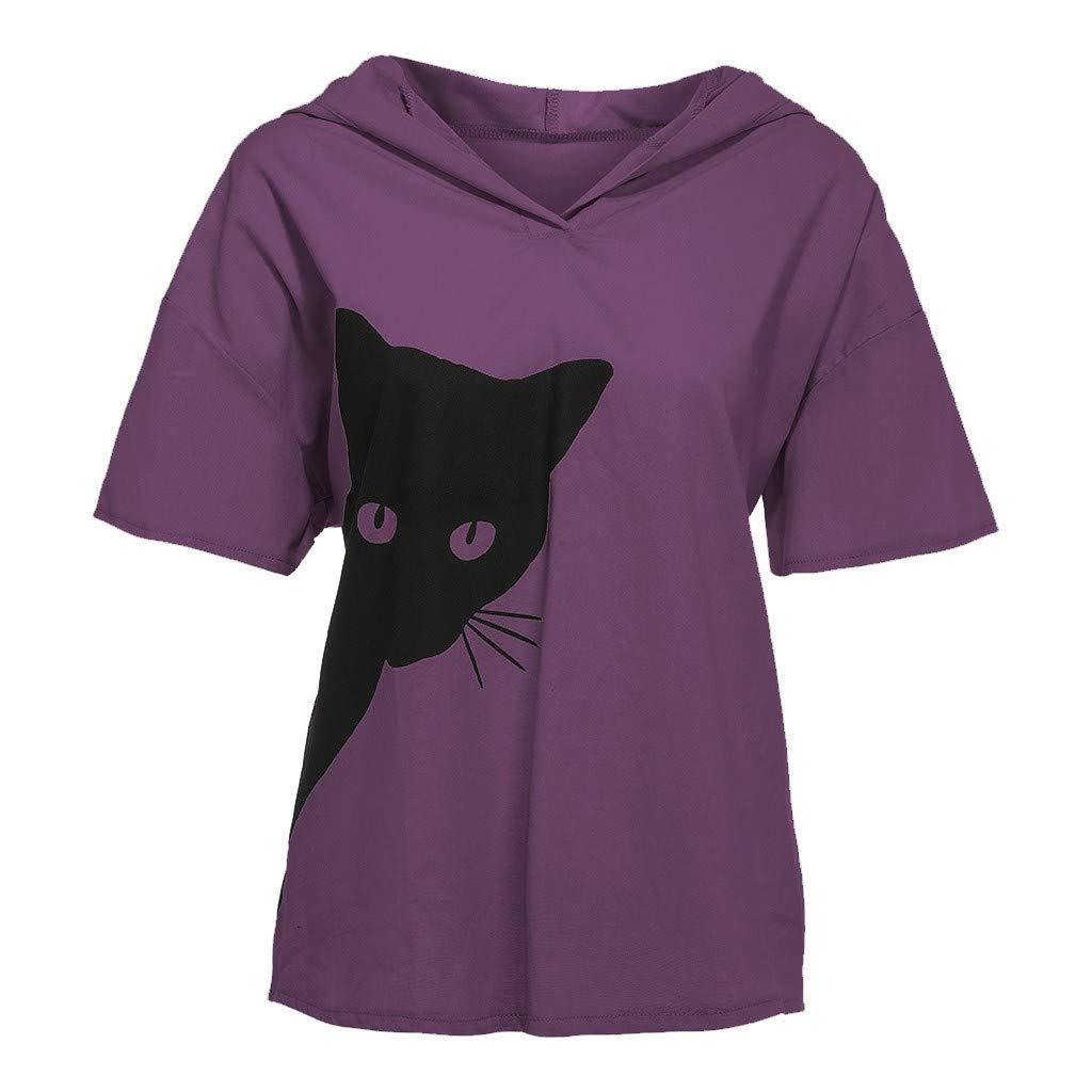 LOVELYOU T-Shirt Femme Mode L/âche D/écontract/é Coton Et Lin Chat Impression Tops Camisole Chemise Chic /Él/égant Hauts D/ébardeur Blouse