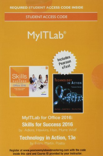 Myitlab With Pearson Etext     Access Card    For Skills 2016 With Technology In Action