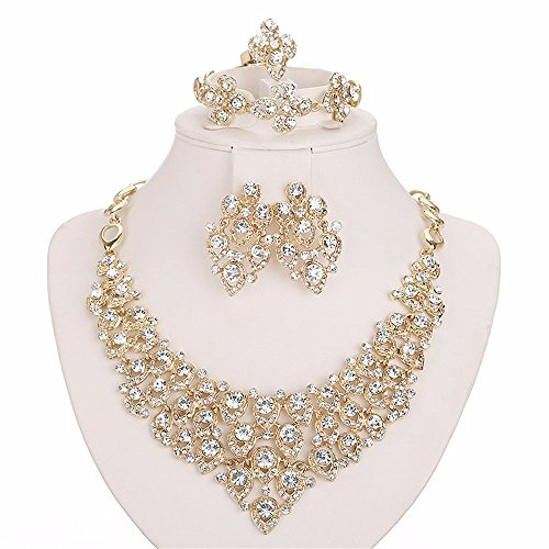 Moochi 18K Gold Plated White Crystal Embedded Scarf Pattern Jewelry Set (Set Of Jewelry)