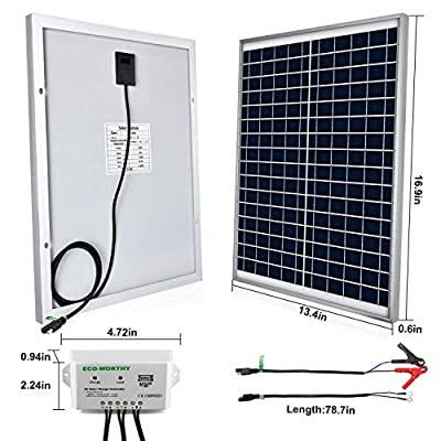 ECO-WORTHY [Upgraded 25 Watts 12V Off Grid Solar Panel SAE Connector Kit: Waterproof 25W Solar Panel + SAE Connection Cable +USB Controller for Light, Gate Opener, Chicken Coop, 12V Deep Cycle Battery : Garden & Outdoor