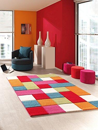 Kinder Teppich Wohnzimmer Kinderzimmer Spielteppich Patchwork Regenbogen - 120x170 cm - schadstofffrei - Pink Grün Blau Orange