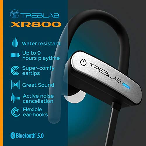 TREBLAB XR800 Bluetooth Headphones, Best Wireless Earbuds for Sports, Running Or Gym Workouts. 2018 Best Model. IPX7 Waterproof, Sweatproof,