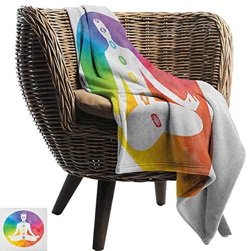warmfamily Blanket Sheets Yoga Lotus Position Silhouette with Symbols of Chakra Muladhara Vishuddra Reiki Sacral All Season Premium Bed Blanket 30