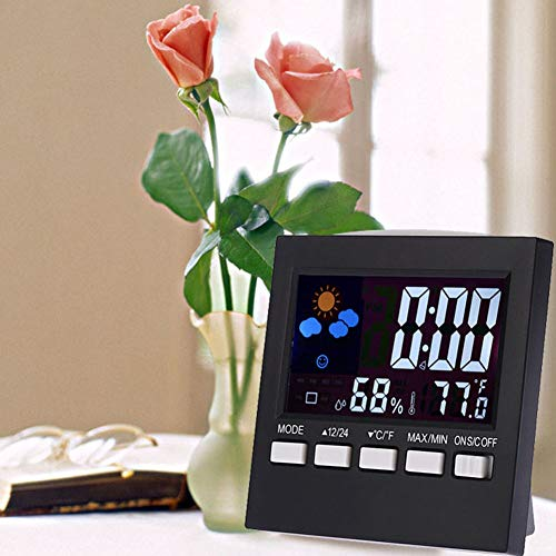 WskLinft Weather Station Alarm Clock, Thermometer Color LCD Display Home Alarm Clock Temperature Humidity Monitor Gift - Black