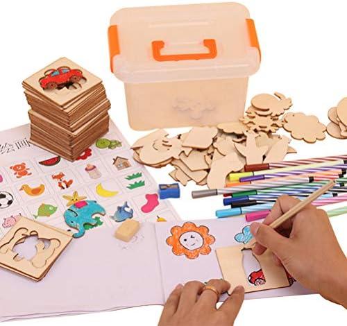 Crabitin 描画テンプレート 描画おもちゃセット 手帳 塗り絵 絵画 再使用可能 描画ツール 製図用品 教育用 絵画学習 DIY 子供 描画学習 モデル 木製 学校絵画教育ツール 絵画セット