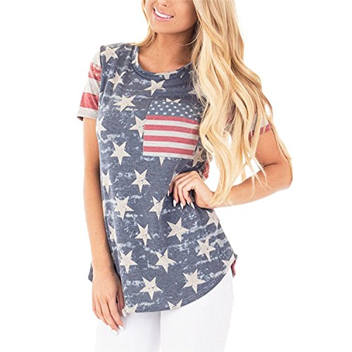 Poptem Womens Casual American Flag T Shirt 4th of July Short Sleeve Tee USA Patriotic Summer Blouse Tops