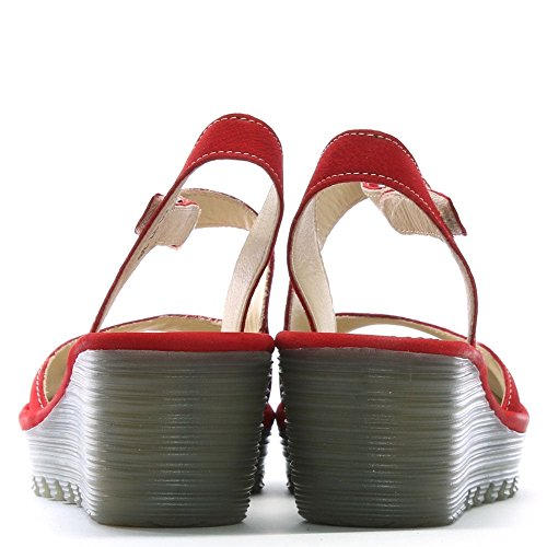 Fly London Womens Yamp 836 Nubuck Sandaler Leppestift Rød